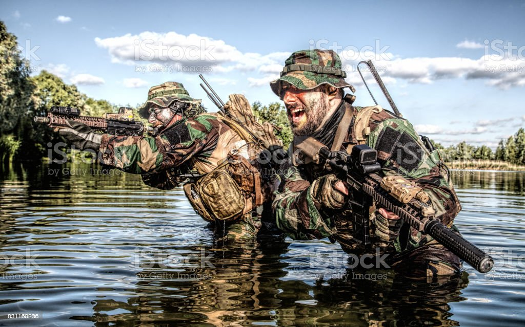 Jungle warfare unit stock photo