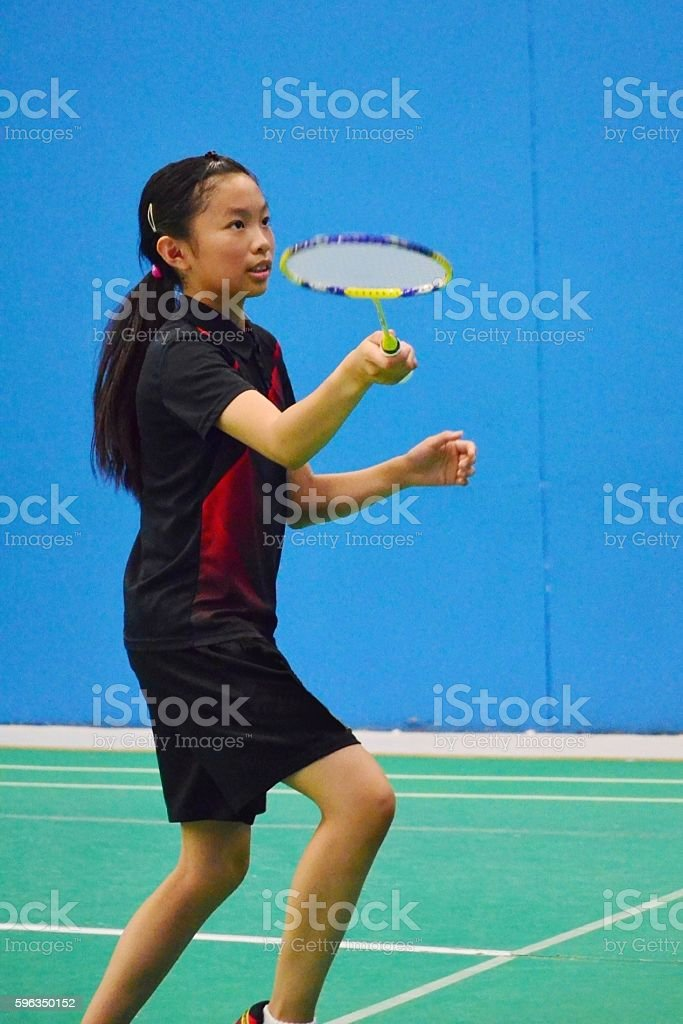 Junior badminton player royalty-free stock photo