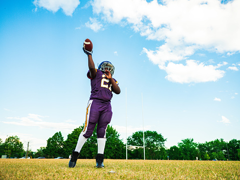Junior Football player during game