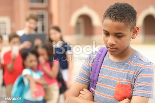 Sad, junior high school age boy being bullied outside the school building,  A group of multi-ethnic students in background laugh at the African American boy.  They have mobile devices to cyber bully the child as well as point and talk about him.