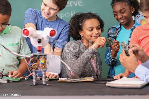 1016655140 istock photo Junior high age school students build robot in technology, engineering class. 1171954846