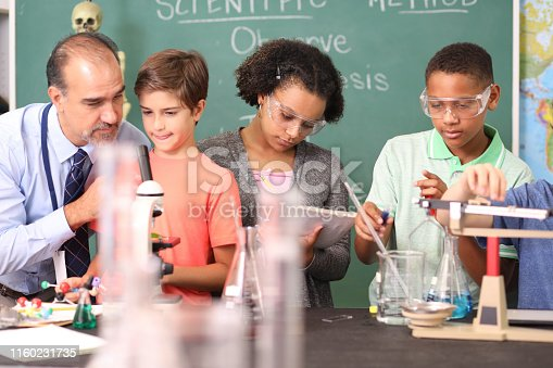 457224763 istock photo Junior high age school students conduct science experiments in classroom. 1160231735