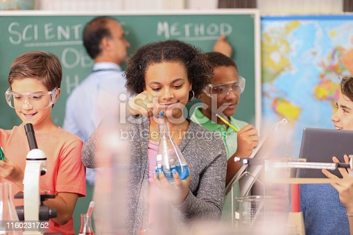 457224763 istock photo Junior high age school students conduct science experiments in classroom. 1160231752