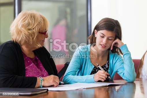 istock Junior high school student taking placement test with teacher 530995835