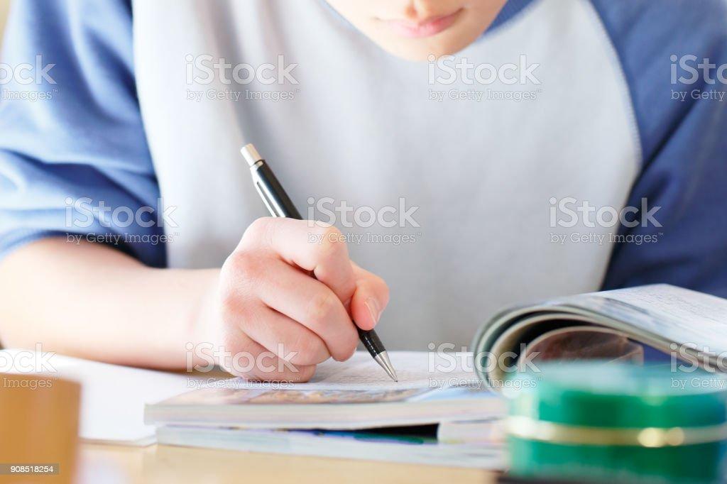 勉強する中学生 ストックフォト