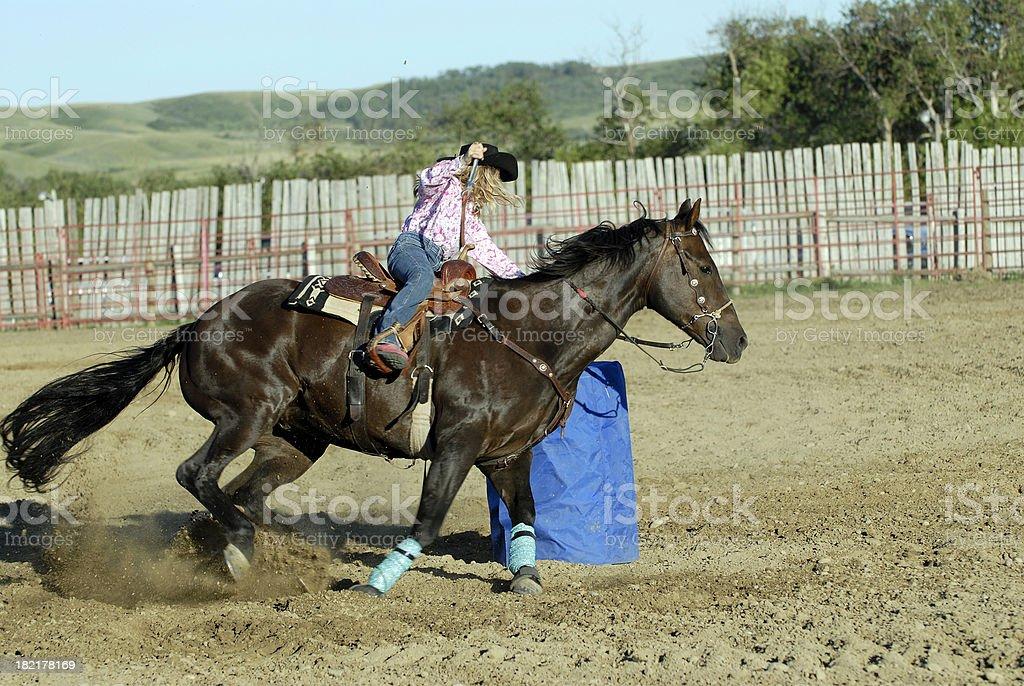 Junior Lady Barrel Racer stock photo