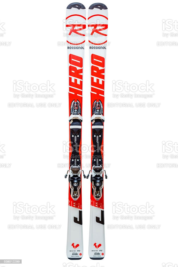 Junior Rossignol skis, isolated on white, clipping path stock photo