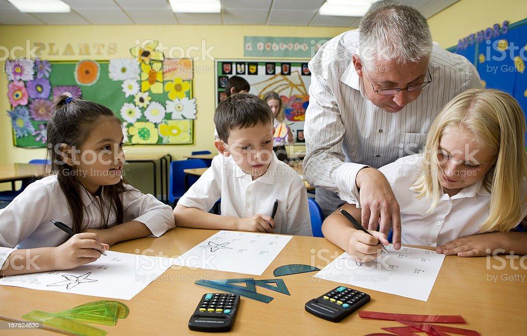 junior school: maths lesson stock photo
