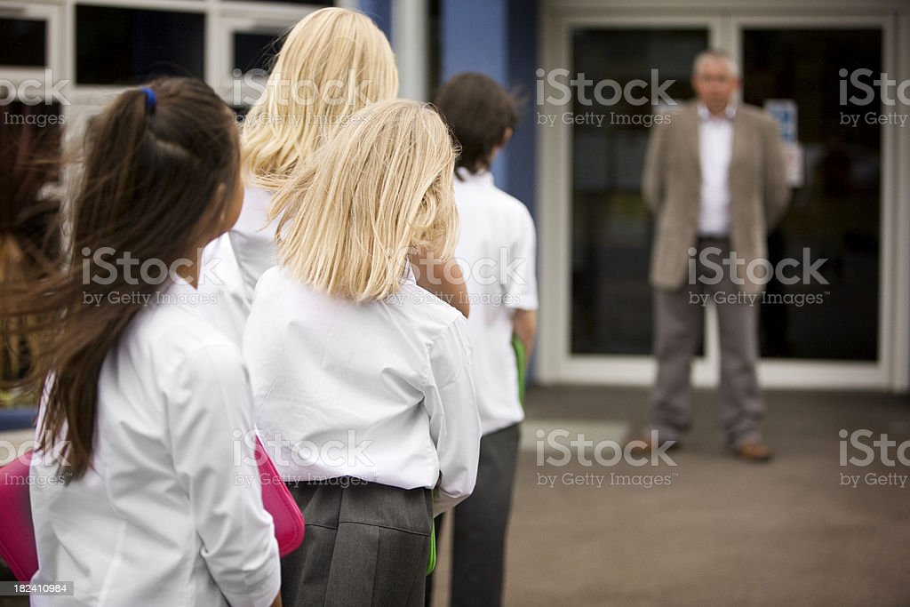 junior school: waiting for class royalty-free stock photo
