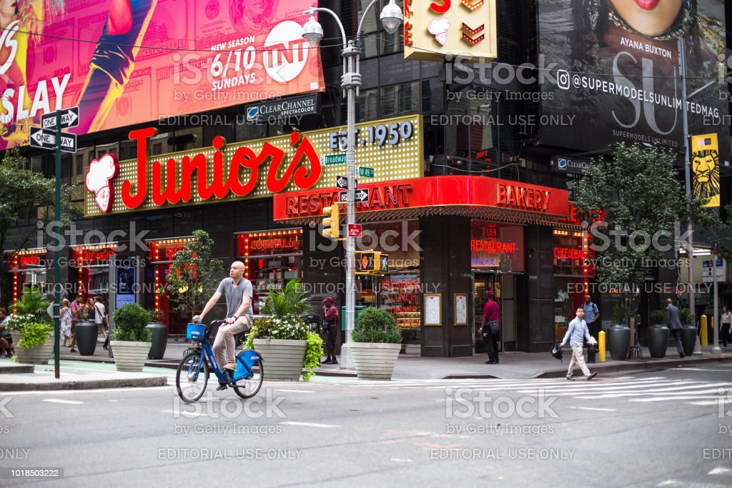 Juniors Restaurant and Times Square NYC stock photo