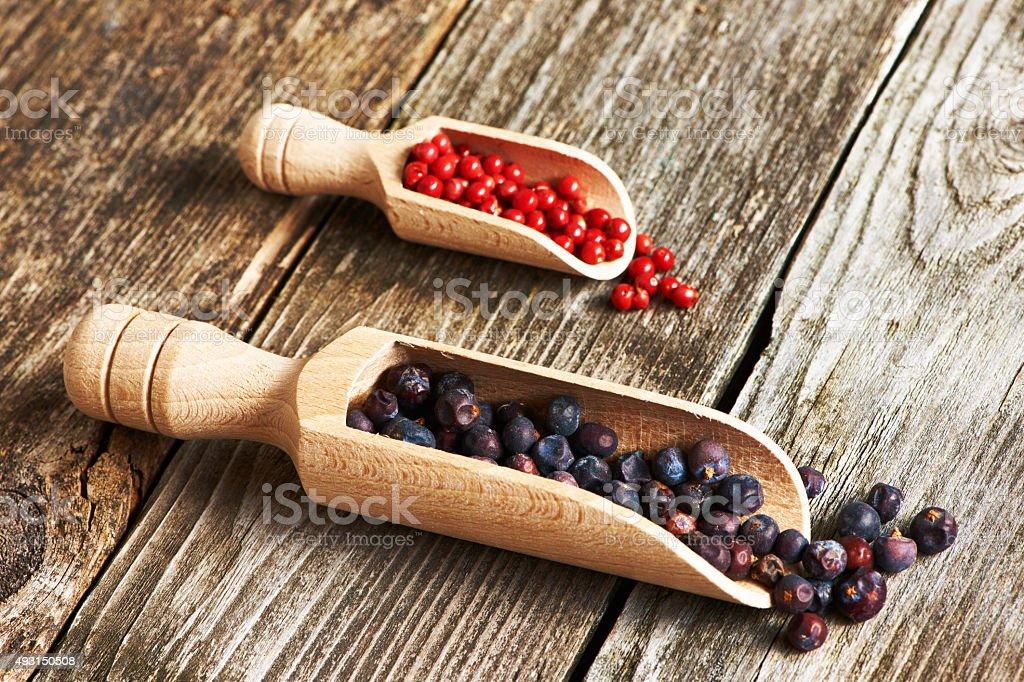 Juniper berries and rose pepper stock photo
