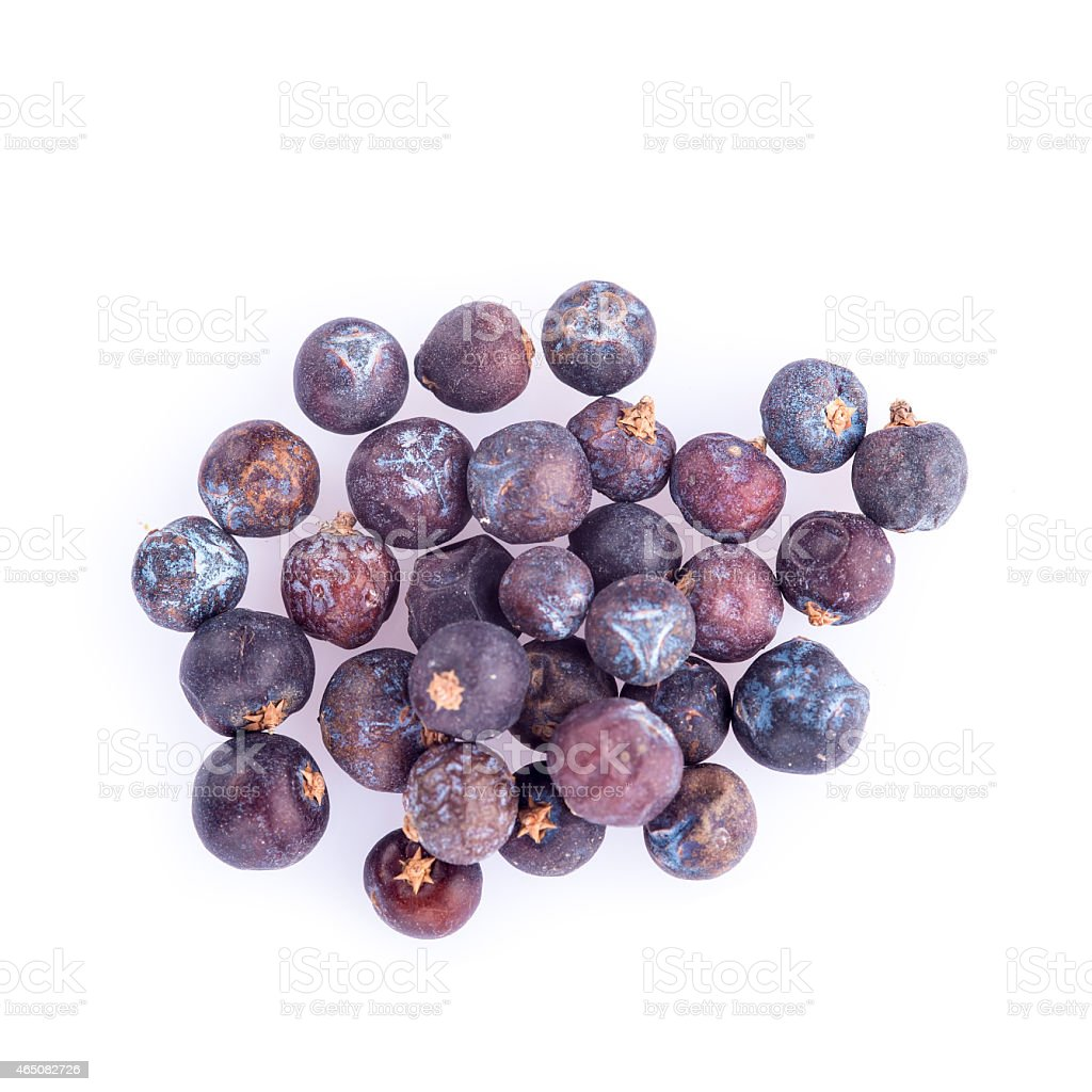 Juniper berries isolated on a white background stock photo
