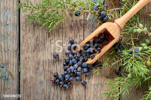 istock Juniper branch and wooden spoon with berries on a wooden background. 1065336274