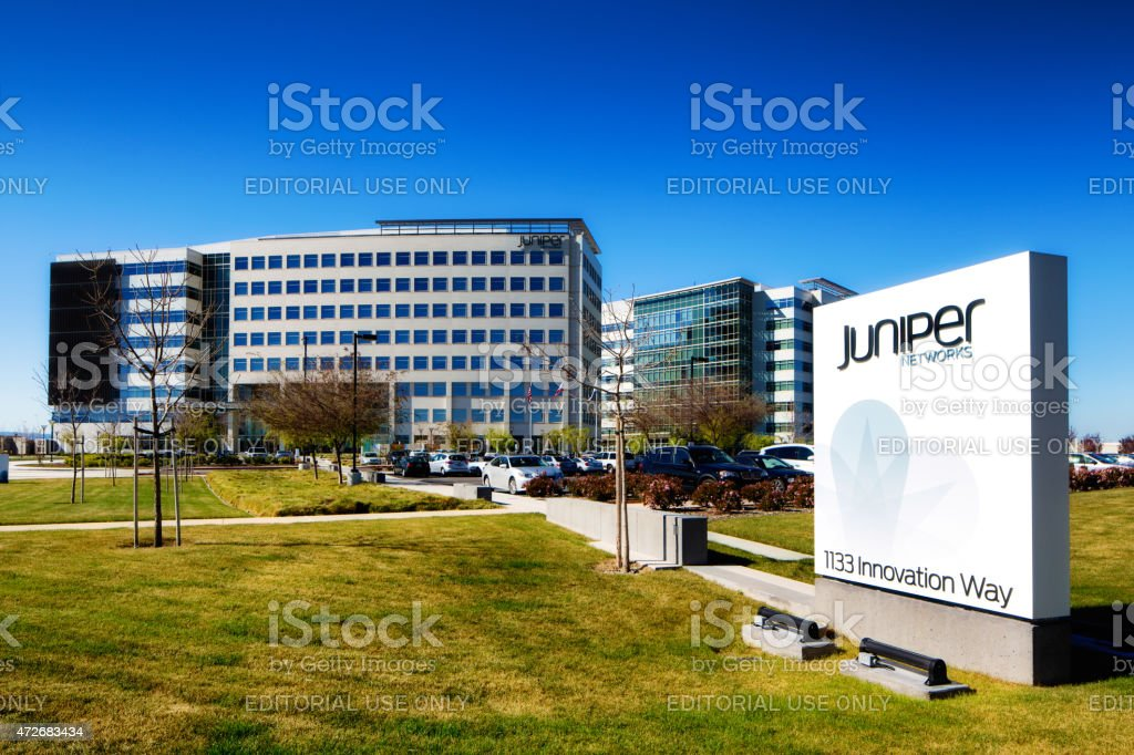 Juniper networks headquarters building and sign in Sunnyvale California stock photo