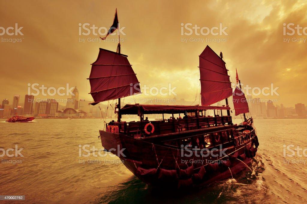 Junk Boat at Hong Kong, Victoria Harbour stock photo