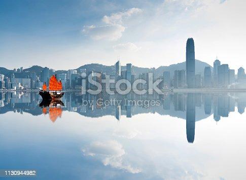 istock Junk boat crossing Hong Kong harbor 1130944982