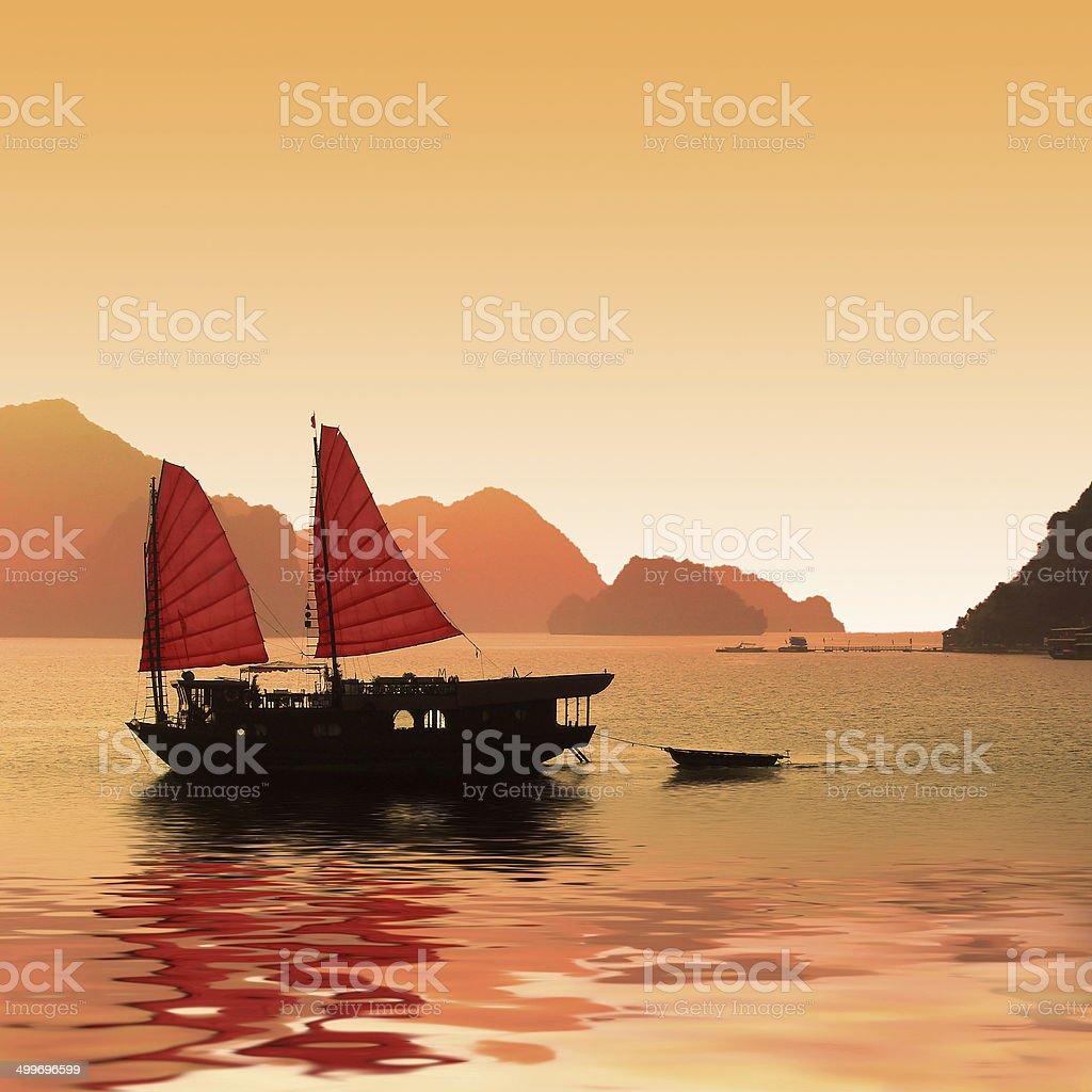 Bote de basura, Bahía de Halong, Vietnam - foto de stock