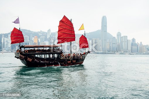 Junk boat in Hong Kong harbor with skyline of the city in the background