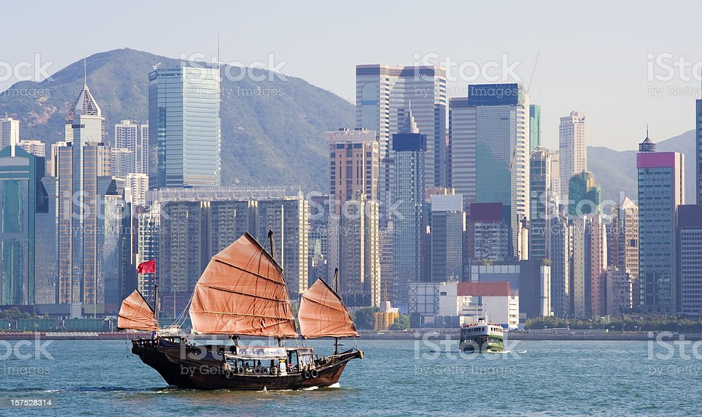 Junk Boat in Victoria Harbour Hong Kong royalty-free stock photo