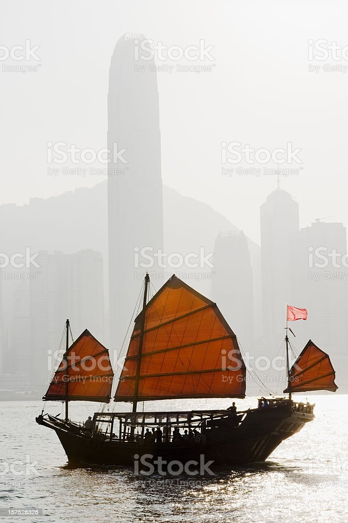 Junk Boat in Victoria Harbour Hong Kong stock photo