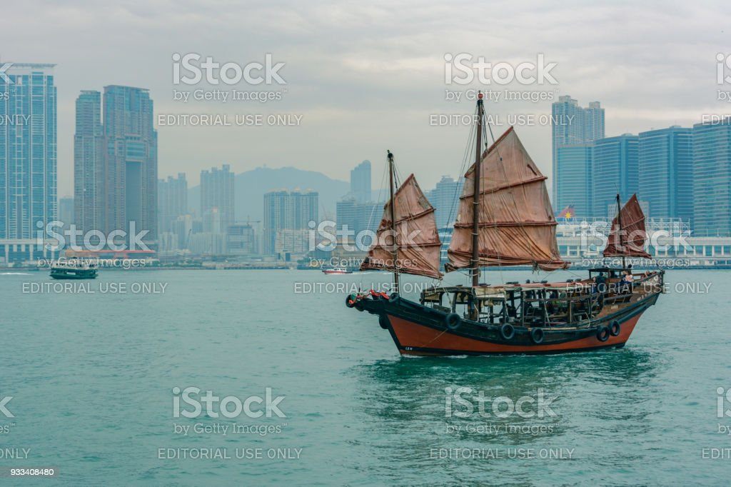 Junk Boat With Red Sails On Victoria Harbor Hong Kong Stock