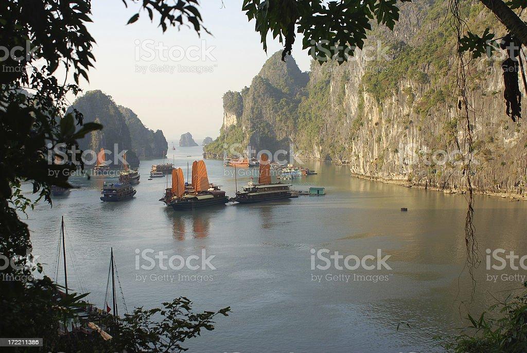 Junk Cruise in Halong Bay stock photo