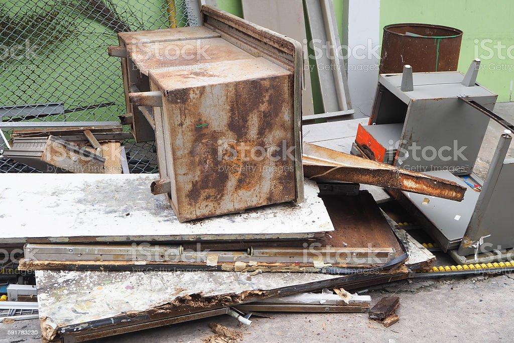 Junk equipment office pile stock photo