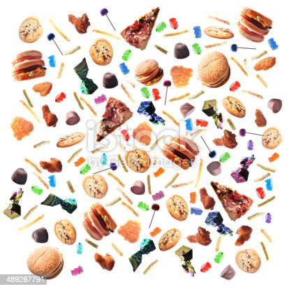 Junk food in mid-air isolated on white. Extremely large resolution.