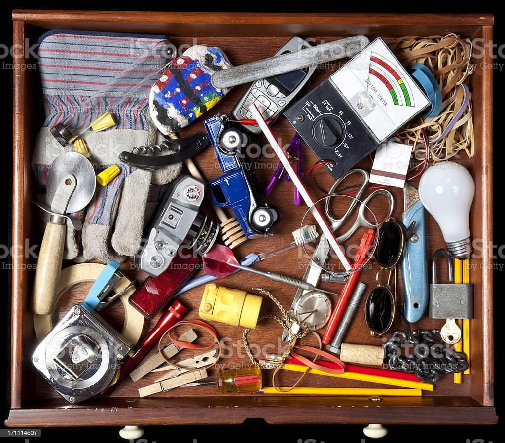 Junk in a drawer royalty-free stock photo