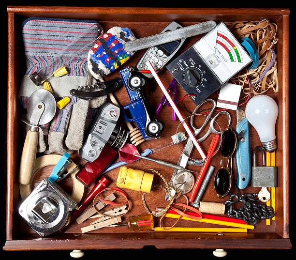 Junk in a drawer stock photo
