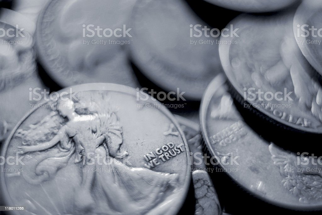 Junk Silver - U.S. Standing Liberty Half-Dollars royalty-free stock photo