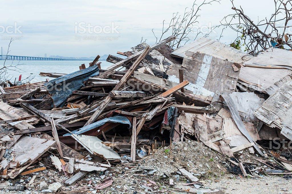 Junk site indicating disaster like tsunami, earthquake,tornado or typhoon stock photo