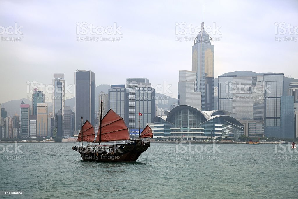 Junkboat in Hong Kong Harbour royalty-free stock photo