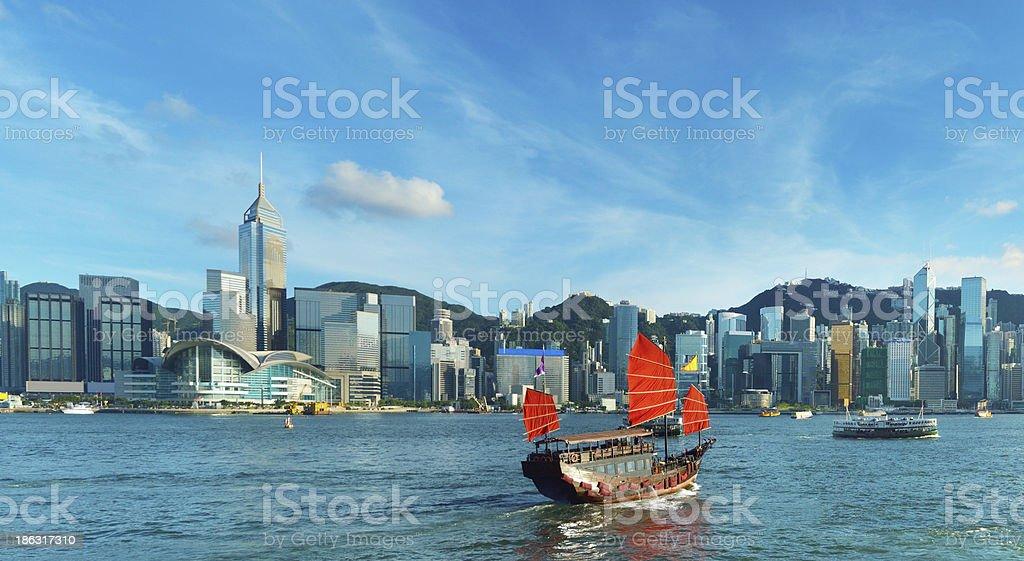 Junkboat in Hong Kong stock photo