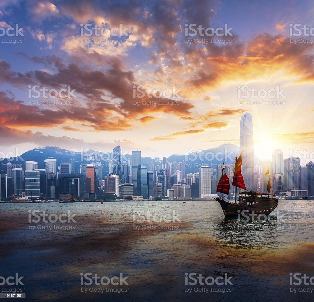 Junkboat  of hong kong stock photo