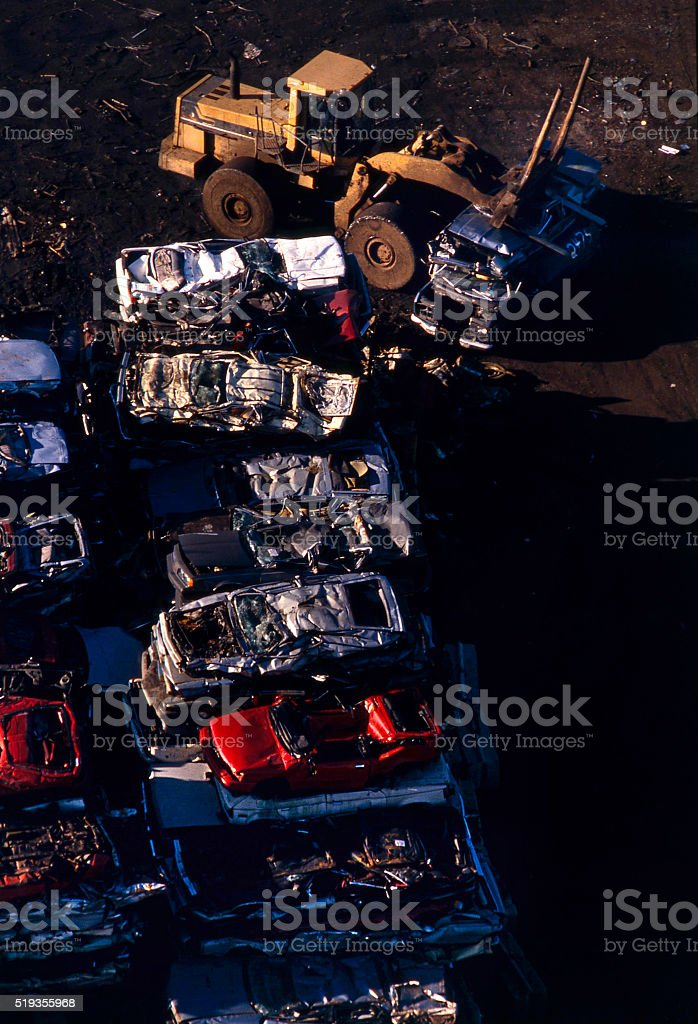 junked cars stock photo