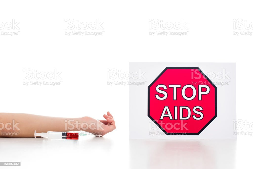 junkie died of aids stock photo