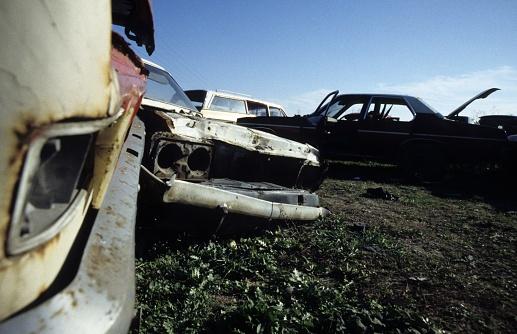 Junkyard, car, bus, crash,old