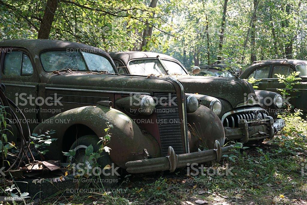 Junkyard cars stock photo