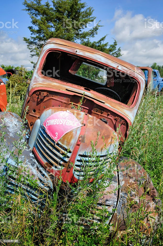 Junkyard Pickup Truck With A Crooked Lean stock photo | iStock