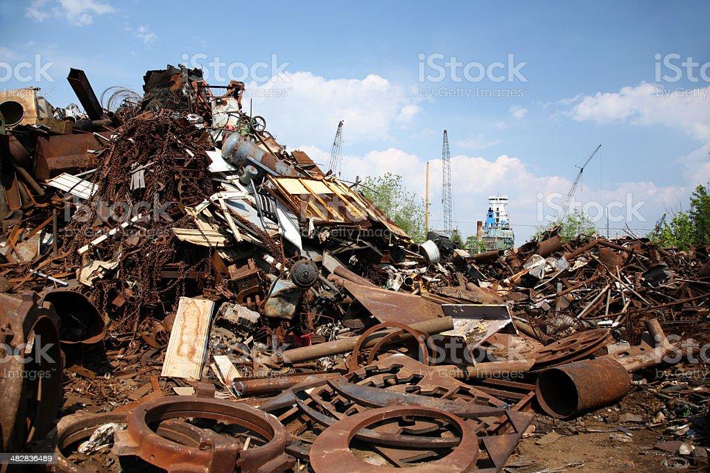 Junkyard Scrap Metal and Shipping Port royalty-free stock photo