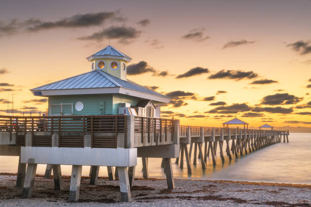 Juno Beach Pier just before sunrise stock photo
