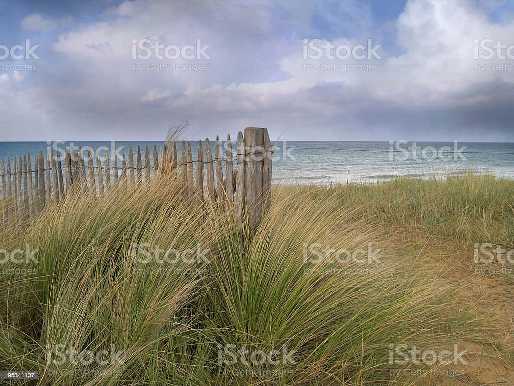 Juno beach with long grass on a cloudy day stock photo
