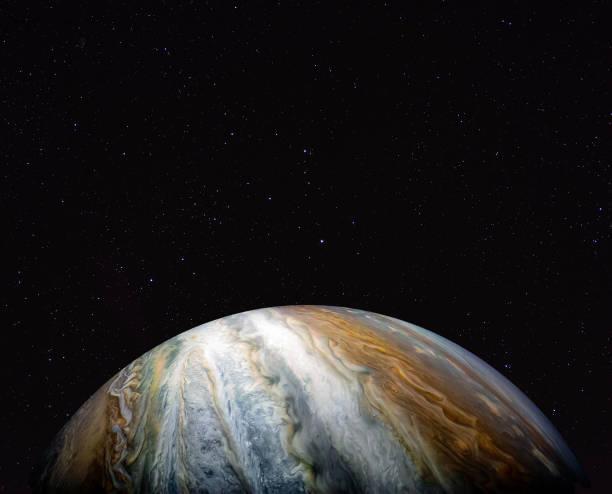 Jupiter gegen den Sternenhimmel. Elemente dieses Bildes von der NASA zur Verfügung gestellt. – Foto