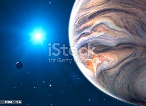 istock Jupiter and moon, satellite view of the planet and sun. View of a satellite orbiting the planet 1168022600
