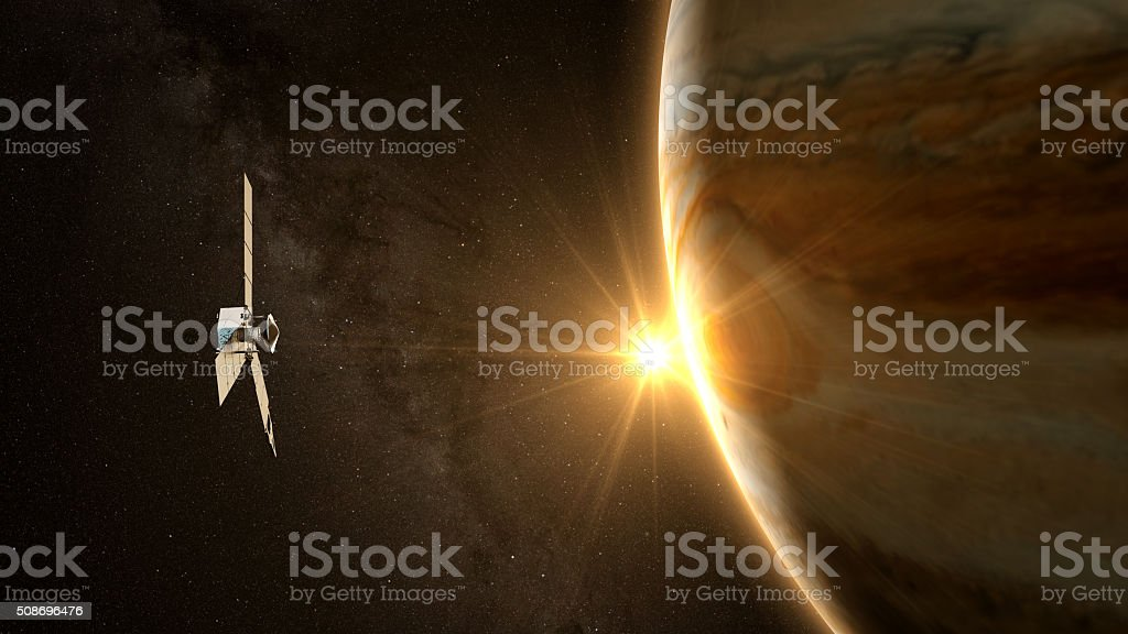 jupiter and satellite juno stock photo
