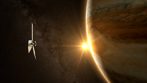 jupiter and satellite juno - space exploration stock photos and pictures