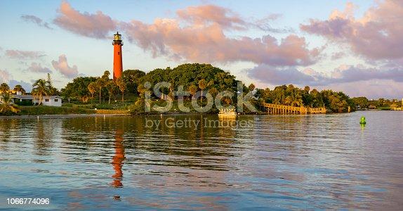 Jupiter Inlet, Florida with the lighthouse at dusk.