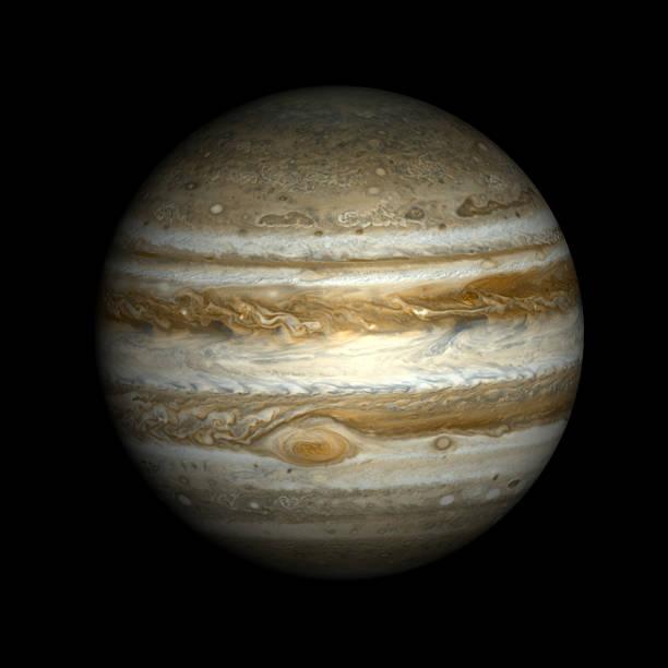 Jupiter, isoliert auf Schwarz. – Foto