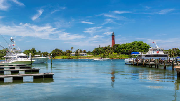 Jupiter lighthouse in West Palm Beach County, Florida stock photo